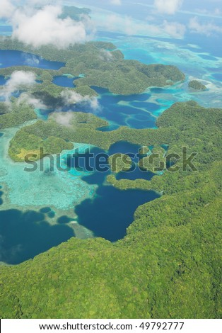 Aerial view of Micronesian islands