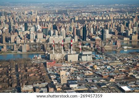 Aerial view of Midtown Manhattan, New York - stock photo