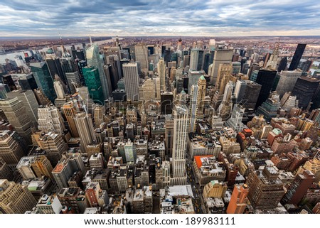 Aerial view of midtown Manhattan skyscrapers - stock photo