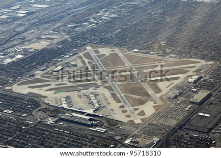 Aerial view of Midway airport in Chicago - stock photo