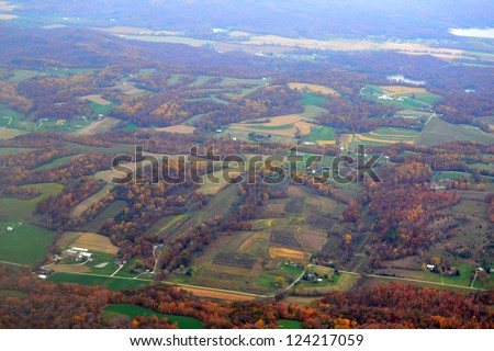 Aerial View of Midwest Farmland - stock photo