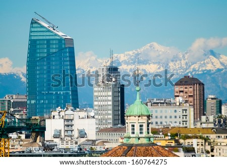 Aerial view of milan downtown with new modern building made of glass - stock photo