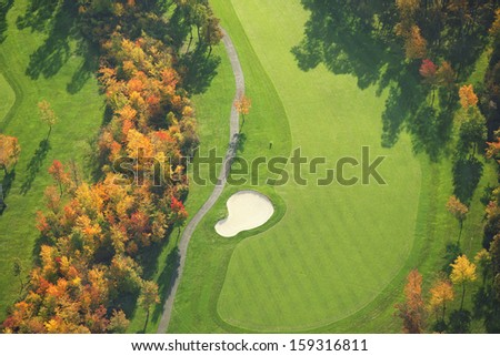 Aerial view of Minnesota golf course during autumn - stock photo