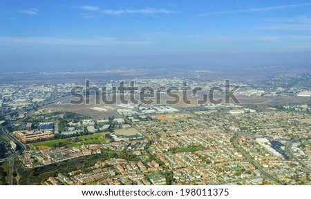 Aerial view of Mission Hills neighborhood and San Diego International Airport (Lindbergh Field), in Southern California, United States of America. An upscale affluent area in the city. - stock photo
