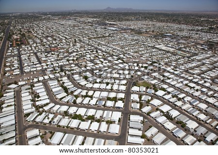 Aerial view of Mobile Home Park - stock photo