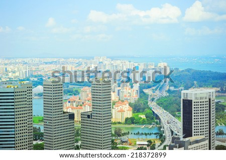 Aerial view of modern asian city. Singapore - stock photo