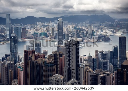 Aerial view of Modern buildings of Hong Kong town - stock photo