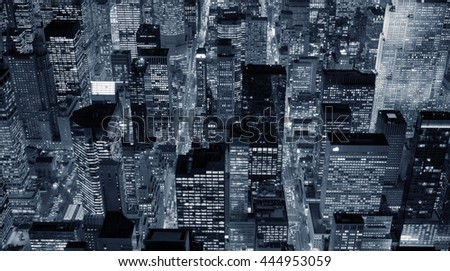 aerial view of modern city skyline background. new york urban metropolis scenery. high rise real estate apartment buildings