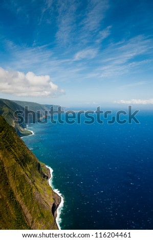 Aerial view of Molokai island coastline, Hawaii - stock photo