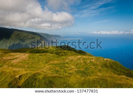 Aerial view of Molokai island mountains and coastline - stock photo