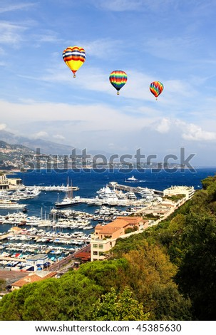 Aerial view of Monaco harbor on sunny day