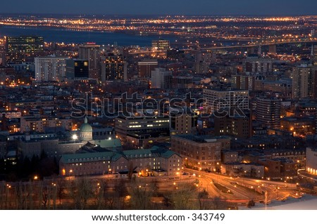 Aerial view of Montreal by night - Quebec, Canada - stock photo