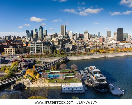 Aerial view of Montreal Skyline, Canada