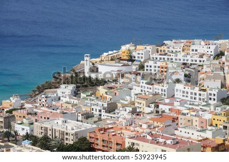 Aerial view of Morro Jable, Canary Island Fuerteventura