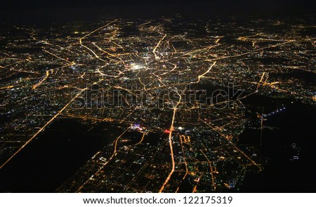 Aerial view of Moscow at night - stock photo