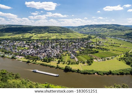 Aerial view of Moselle River in Germany near Punderich - stock photo