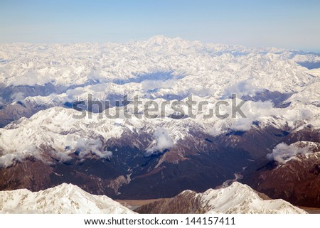 Aerial view of Mount Cook with southern mountain range New Zealand - stock photo