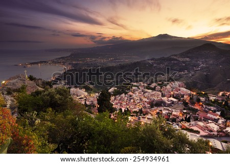 Aerial view of Mount etna at sunset from Taormina - stock photo