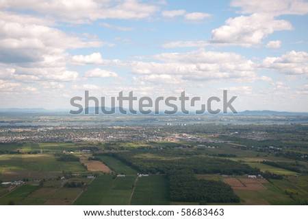 Aerial view of mount St-Hilaire in the region of Montreal. - stock photo