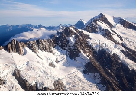 Aerial view of Mountain Cook Range Landscape with from Helicopter, New Zealand - stock photo