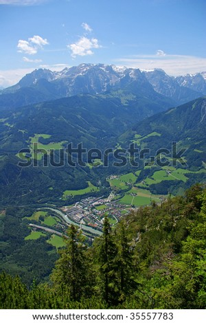 aerial view of mountain valley in Austria - stock photo