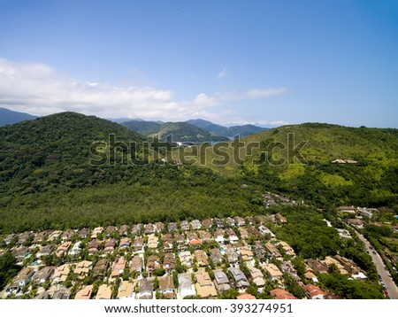 Aerial View of Mountains in Sao Sebatiao, Sao Paulo, Brazil - stock photo