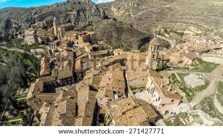 Aerial View of Mountains Medieval  town in Aragon. Albarracin, Teruel / STUNNING VIDEO AVAILABLE (UHD Quality) on my footage gallery. - stock photo