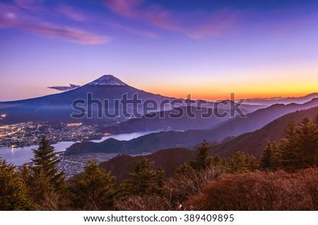 Aerial view of Mt. Fuji and Kawaguchiko - stock photo