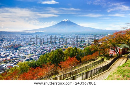 Aerial view of mt.Fuji, Fujiyoshida, Japan - stock photo