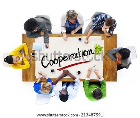 Aerial View of Multiethnic Group with Cooperation Concept - stock photo