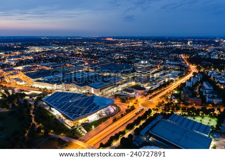 Aerial View of Munich at Night, Munich, Bavaria, Germany - stock photo