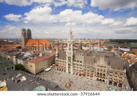 Aerial view of Munich city center - stock photo