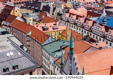 Aerial view of Munich cityscape, Bavaria, Germany - stock photo