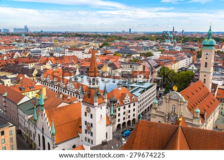 Aerial view of Munich in a summer day in Germany - stock photo