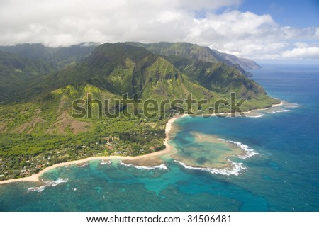 aerial view of Na Pali coast in Kauai Hawaii - stock photo