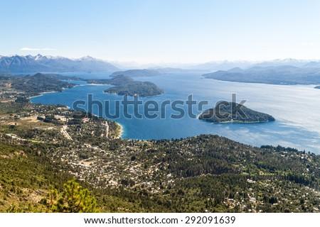 Aerial view of Nahuel Huapi lake near Bariloche, Argentina - stock photo