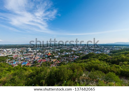 Aerial view of Nakonsawan city in thailand - stock photo