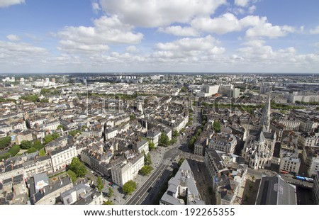 Aerial view of Nantes (France)
