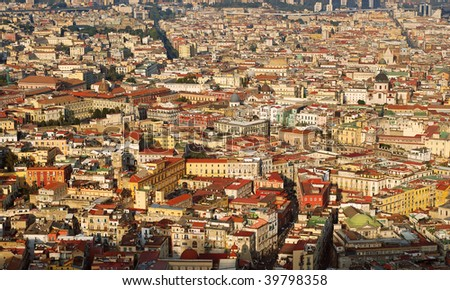 Aerial view of Naples city during the sunset - stock photo