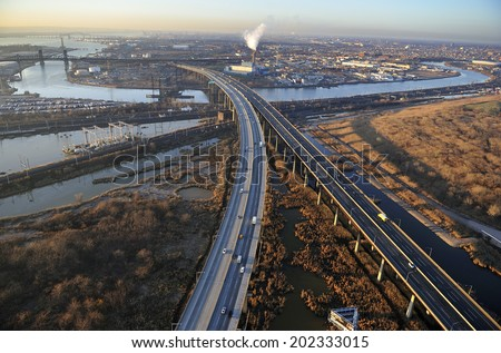 Aerial view of New Jersey Turnpike, New Jersey - stock photo