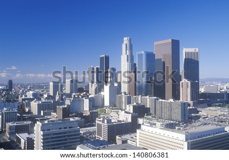 Aerial view of New Los Angeles viewed from the Hollywood Hills, Los Angeles, California - stock photo