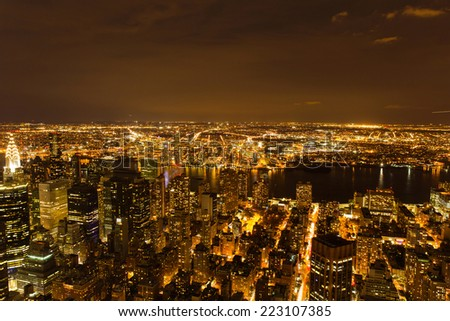 aerial view of new york city at night  - stock photo