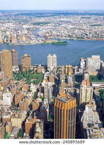 Aerial view of New York City from the Empire State Building. - stock photo