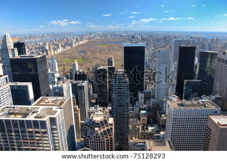 Aerial view of  New York city Manhattan and Central Park.