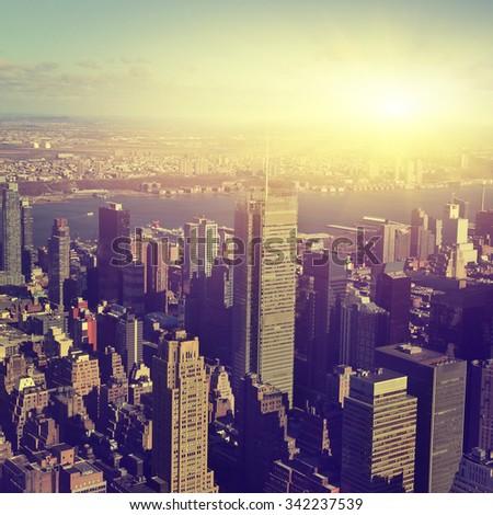 Aerial view of New York City Manhattan  at sunset. - stock photo