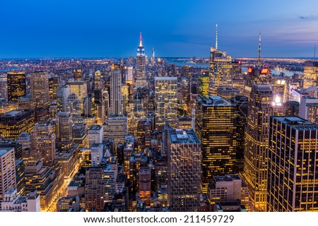 Aerial view of New York City midtown Skyline at night