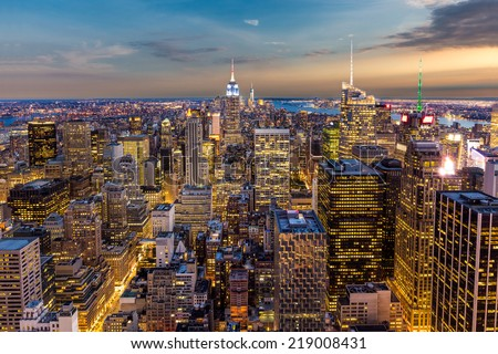 aerial view of New York City midtown Skyline at sunset