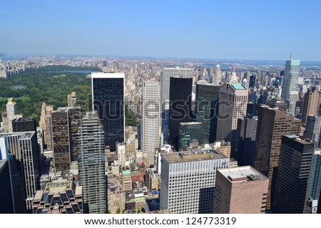 Aerial View of New York City's Central Park - stock photo