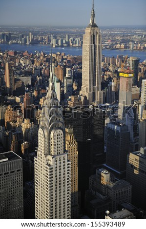 Aerial view of New York City skyline and Empire State building, Chrysler Building - stock photo