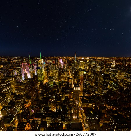 Aerial view of New York with starry sky - stock photo